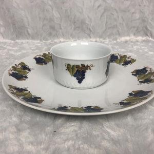 House of Prill Procelain Dinner Plate & Custard